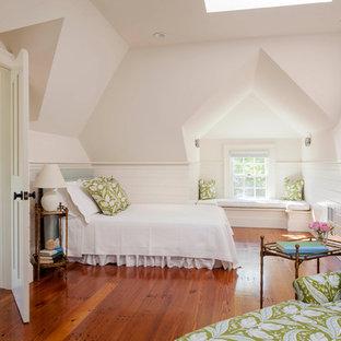 Coastal bedroom photo in Boston with white walls