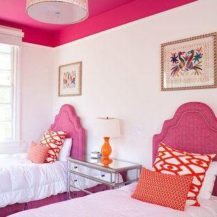 Transitional guest bedroom photo in Jacksonville with white walls