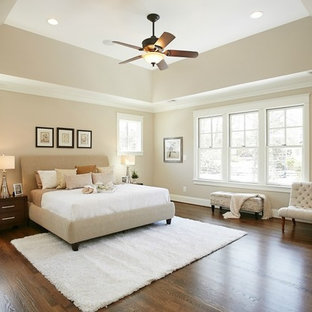 Photo of a large arts and crafts master bedroom in DC Metro with beige walls, ceramic floors, beige floor and no fireplace.
