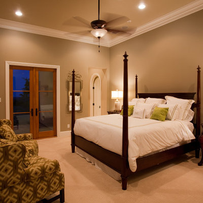 Bedroom - contemporary carpeted bedroom idea in Austin with brown walls