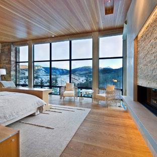 Modelo de dormitorio actual con suelo de madera en tonos medios, chimenea lineal y marco de chimenea de piedra