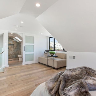 Contemporary loft-style bedroom in San Francisco with white walls and laminate floors.