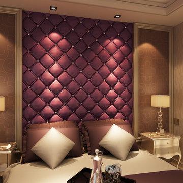 3D Leather Tiles Bedhead for Bedroom Design
