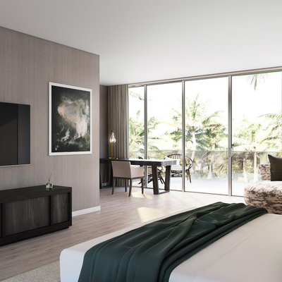 Inspiration for a large contemporary master light wood floor and brown floor bedroom remodel in Miami with brown walls and no fireplace