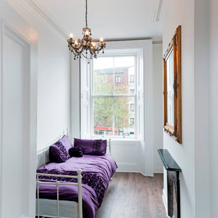 Inspiration for a small transitional guest bedroom in Dublin with white walls, dark hardwood floors, a metal fireplace surround and brown floor.