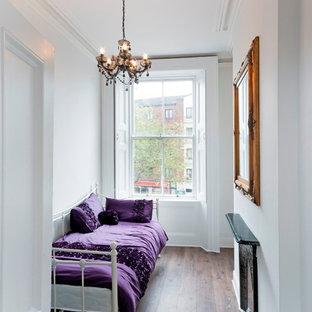 Ejemplo de habitación de invitados tradicional renovada, pequeña, con paredes blancas, suelo de madera oscura, marco de chimenea de metal y suelo marrón
