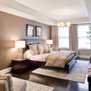 Inspiration for a contemporary master dark wood floor bedroom remodel in New York with brown walls and no fireplace
