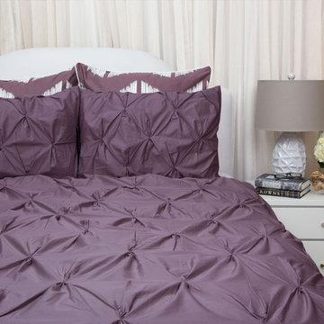 400 Thread Count Pintuck Duvet Cover, The Valencia Plum Purple