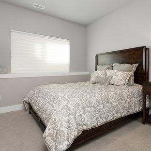 Modelo de habitación de invitados tradicional renovada, pequeña, sin chimenea, con paredes grises, moqueta y suelo beige