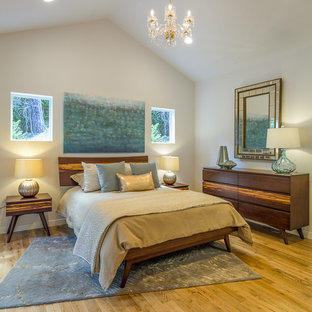 Small midcentury master bedroom in Other with white walls.