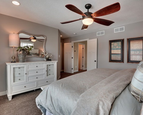 Inspiration For A Transitional Carpeted And Brown Floor Bedroom Remodel In Minneapolis With Gray Walls
