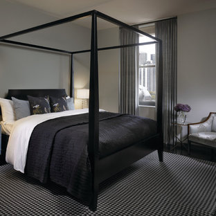 Design ideas for a contemporary bedroom in Chicago with grey walls.