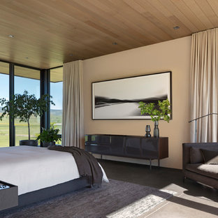 This is an example of a contemporary bedroom in Denver with beige walls, concrete flooring and grey floors.