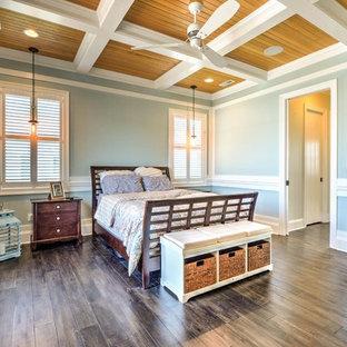 Ejemplo de dormitorio principal, contemporáneo, grande, sin chimenea, con paredes azules, suelo laminado y suelo marrón