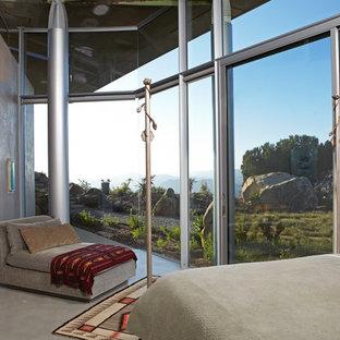 Bedroom - contemporary concrete floor and gray floor bedroom idea in Los Angeles