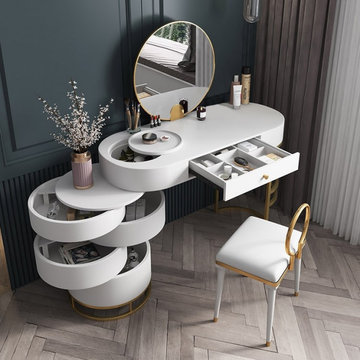 $795.99 White Makeup Vanity Dressing Table with Swivel Cabinet Mirror & Stool In