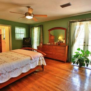 Foto de habitación de invitados costera, de tamaño medio, con paredes verdes y suelo de madera en tonos medios