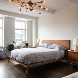 Example of a mid-sized trendy master dark wood floor and brown floor bedroom design in New York with gray walls
