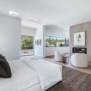 Foto de dormitorio principal, actual, grande, con paredes blancas, suelo de madera clara, chimenea lineal y marco de chimenea de baldosas y/o azulejos