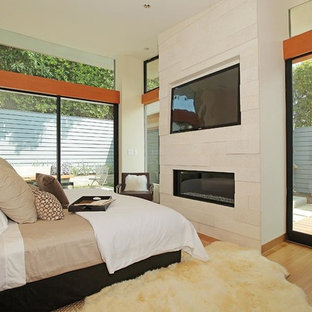 Inspiration for a contemporary bedroom in Los Angeles with beige walls, medium hardwood flooring, a ribbon fireplace and a stone fireplace surround.