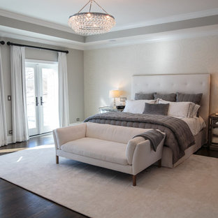 Inspiration for a mid-sized transitional master carpeted bedroom remodel in Chicago with gray walls, a ribbon fireplace and a stone fireplace