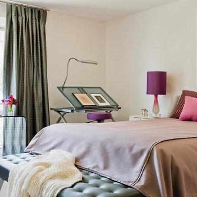 Bedroom - contemporary bedroom idea in Boston with beige walls