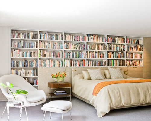 Inspiration For A Contemporary Guest Carpeted Bedroom Remodel In Boston  With White Walls Part 67