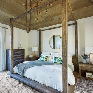 Bedroom   Tropical Dark Wood Floor Bedroom Idea In Other With White Walls