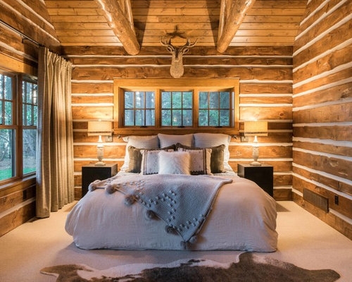 Example of a mid sized mountain style master carpeted and white floor  bedroom design in. Our 11 Best Rustic Bedroom Ideas   Decoration Pictures   Houzz