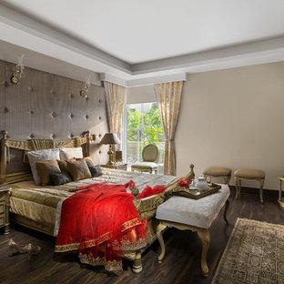 Zen Dark Wood Floor And Brown Floor Bedroom Photo In Delhi