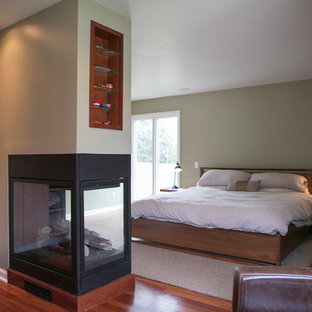 Inspiration for a mid-sized contemporary guest medium tone wood floor bedroom remodel in Other with green walls, a hanging fireplace and a metal fireplace