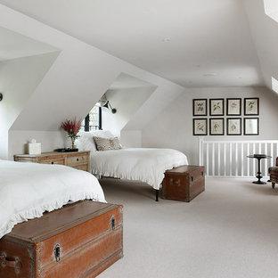 Ispirazione per una camera degli ospiti tradizionale con pareti bianche e moquette