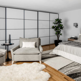Example of a mid-sized trendy master medium tone wood floor bedroom design in New York with gray walls