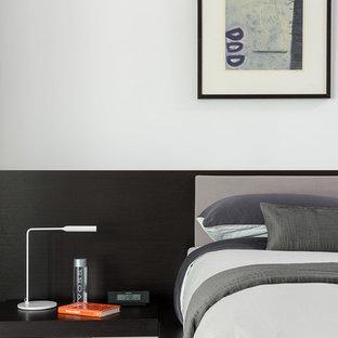 ヒューストンのコンテンポラリースタイルのおしゃれな寝室 (白い壁、カーペット敷き) のレイアウト