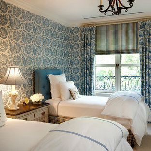 Inspiration for a timeless guest carpeted bedroom remodel in Chicago with blue walls and no fireplace