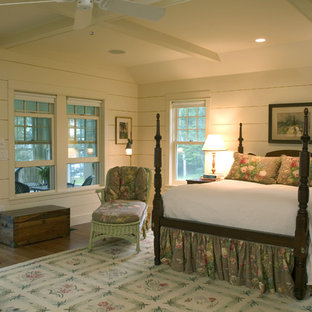 Elegant bedroom photo in Boston with white walls