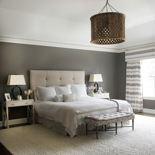 Mid-sized transitional master dark wood floor and brown floor bedroom photo in DC Metro with gray walls