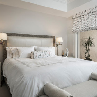 Mid-sized transitional bedroom in Other with grey walls, carpet, grey floor and recessed.