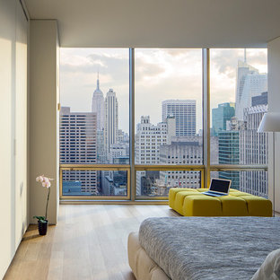 Example of a mid-sized minimalist master light wood floor bedroom design in New York with white walls