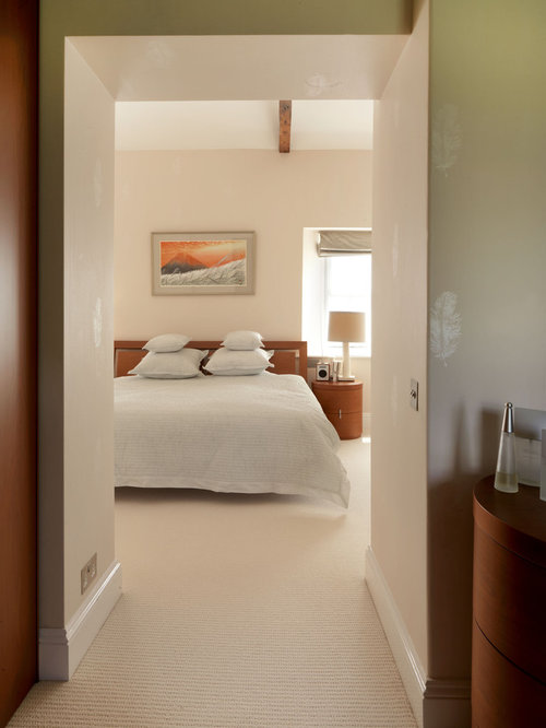 Contemporary Carpeted Bedroom Idea In Hampshire With Beige Walls