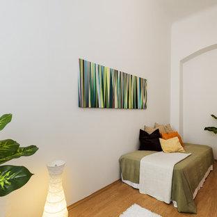 Immagine di una piccola camera degli ospiti minimal con pareti bianche, pavimento in compensato e nessun camino