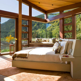 Example of a mountain style master bedroom design in Denver