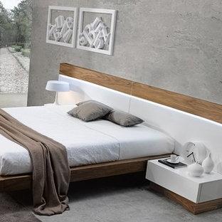 Bedroom - mid-sized contemporary bedroom idea in Los Angeles with gray walls