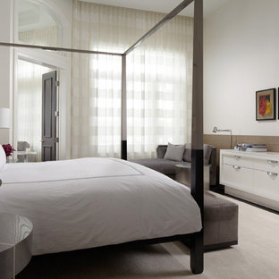 Example of a trendy bedroom design in Miami with white walls