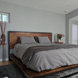 Ejemplo de dormitorio principal, minimalista, de tamaño medio, con paredes grises, suelo de bambú y suelo marrón