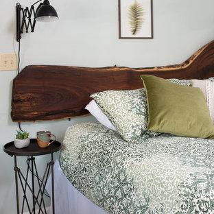 Modelo de habitación de invitados rústica, pequeña, con paredes verdes, moqueta y suelo verde