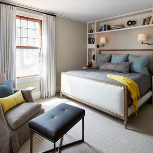 Design ideas for a transitional bedroom in New York with bamboo floors and beige floor.