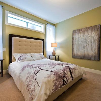 Bedroom - contemporary bedroom idea in Calgary with yellow walls