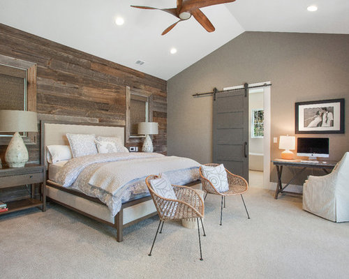 Mid sized country master bedroom photo in San Francisco with green walls  and carpetFarmhouse Bedroom Ideas   Design Photos   Houzz. Farmhouse Bedroom. Home Design Ideas