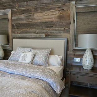 Example of a mid-sized farmhouse master carpeted bedroom design in San Francisco with green walls